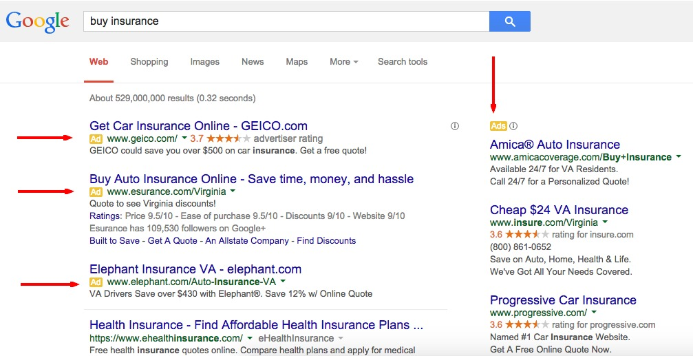 "Google's Search Results Page — ""Buy Insurance"""