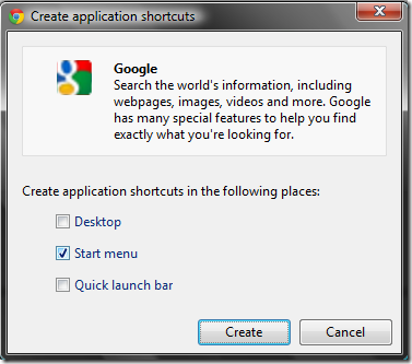Create Application Shortcuts