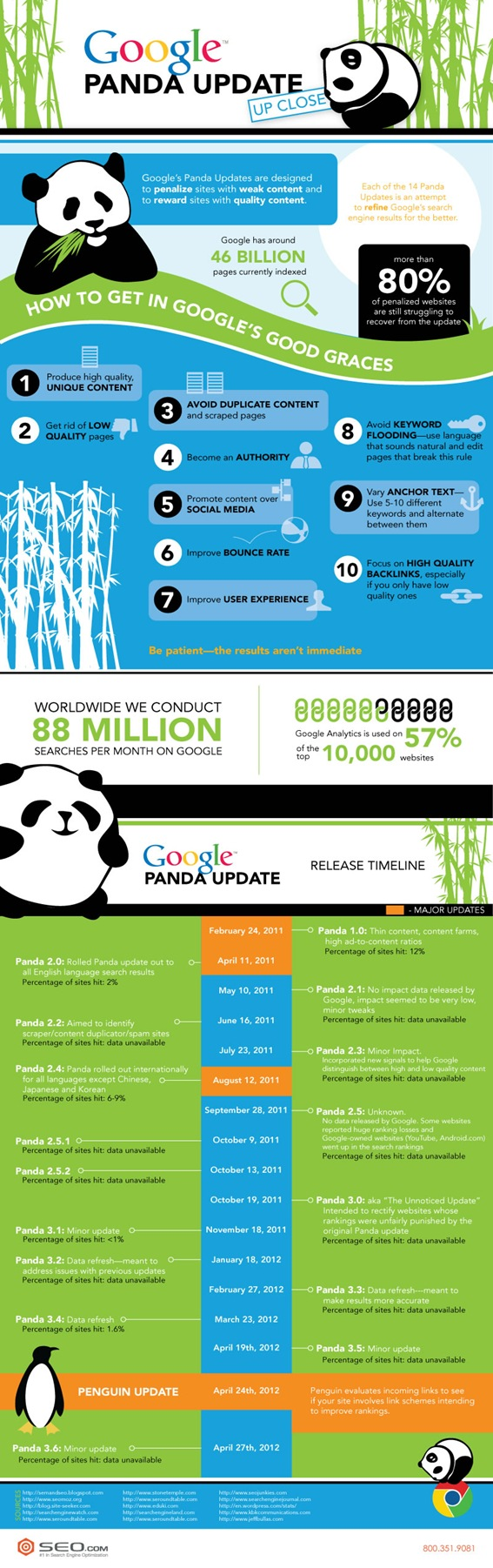 Google Panda Update Timeline & Tips Infographic