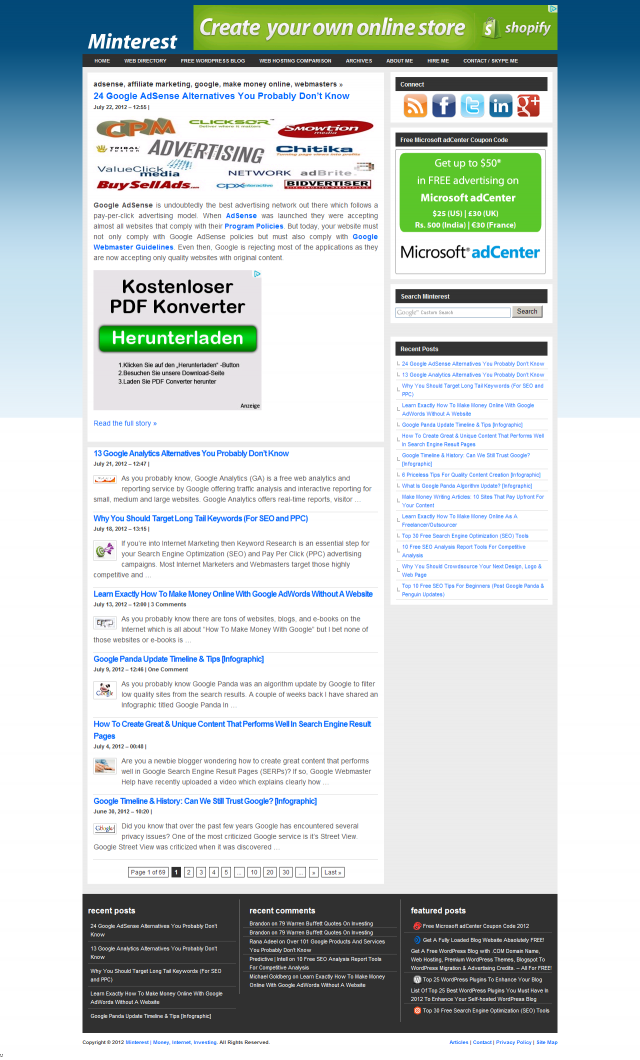 Minterest Full Web Page Screenshot by Thumbalizr