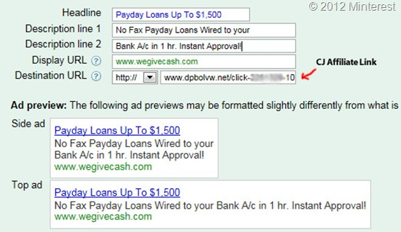 PPC Campaigns Ad Copy for Payday Loans Affiliates