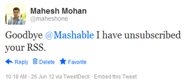 Goodbye @Mashable I have unsubscribed your RSS.