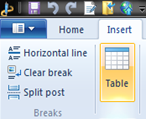Insert tables using Windows Live Writer