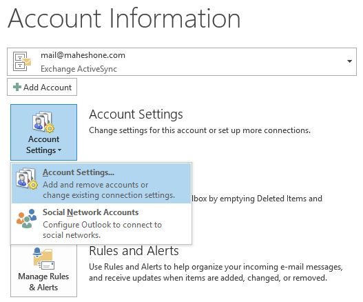 Outlook 2013 Account Information & Settings