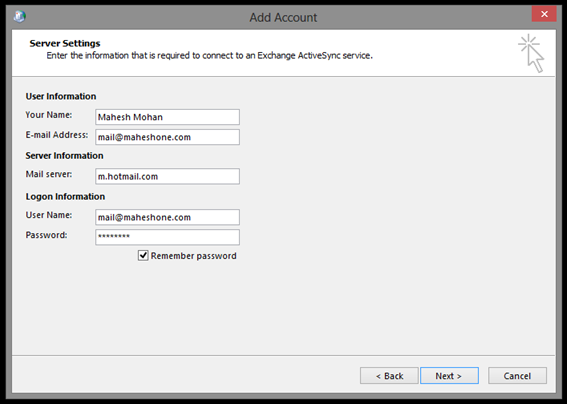 Outlook 2013 Server Settings