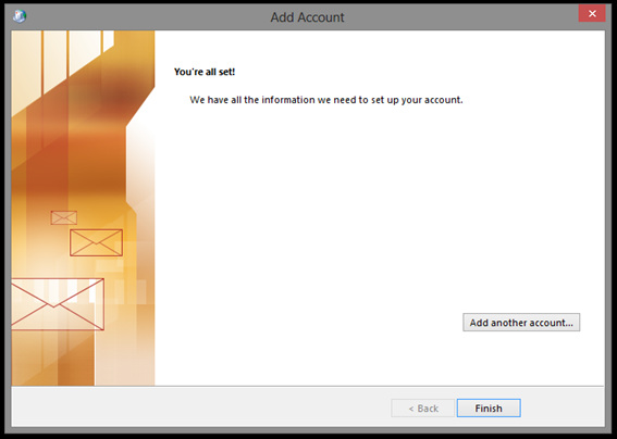 Outlook 2013 Account Setup Complete