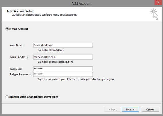 Outlook – Add Account