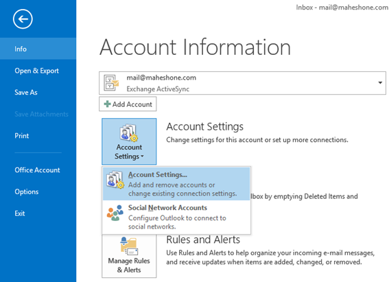 Microsoft Outlook 2013 Account Settings