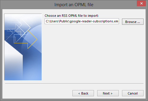 Microsoft Outlook 2013 RSS Import OPML File