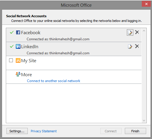 Outlook 2013 Social Network Accounts