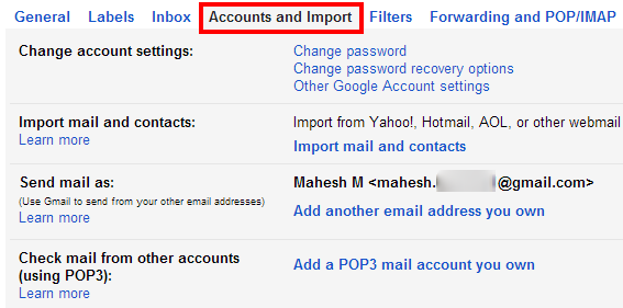 Gmail Settings: Accounts & Import
