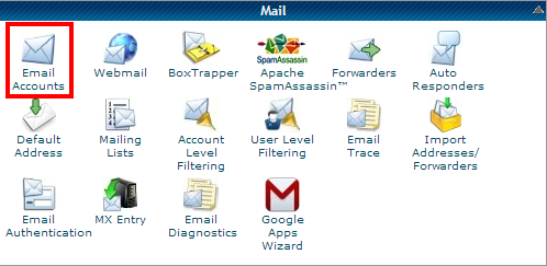 cPanel: Email Accounts