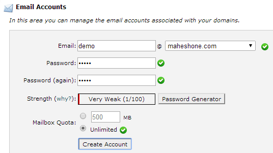 cPanel: Create Email Accounts