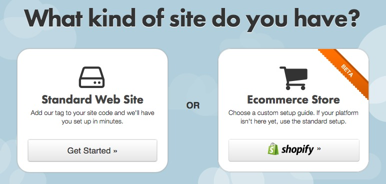Select the type of your Website