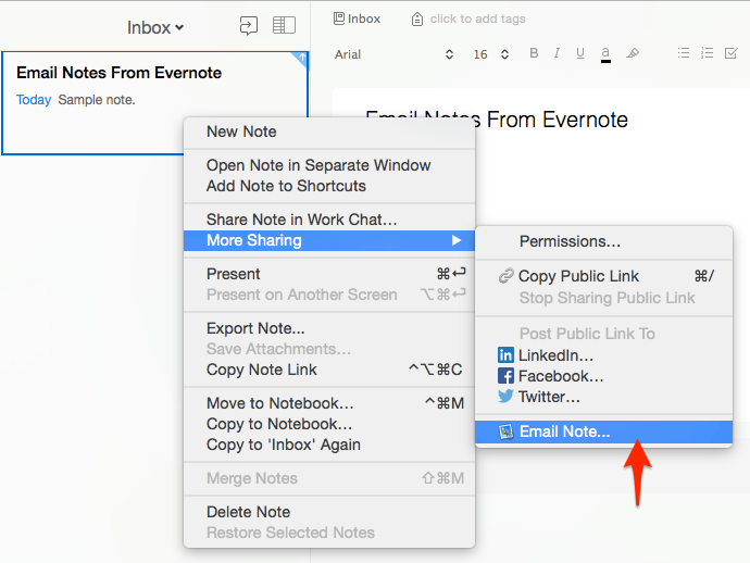 Email Notes From Your Evernote