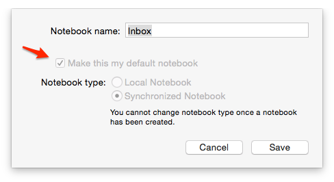 Evernote Default Notebook