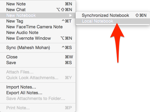 Evernote Local Notebook