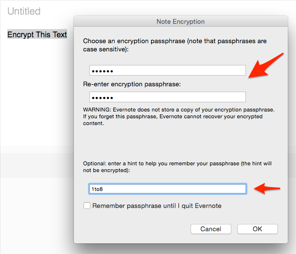 Evernote Text Encryption