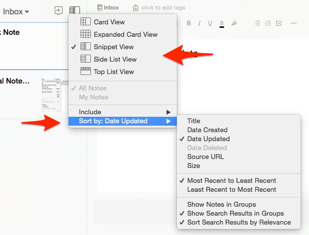 Evernote View & Sort Options