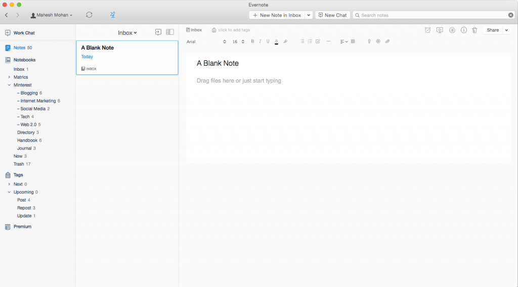 Evernote for Mac (Screenshot)