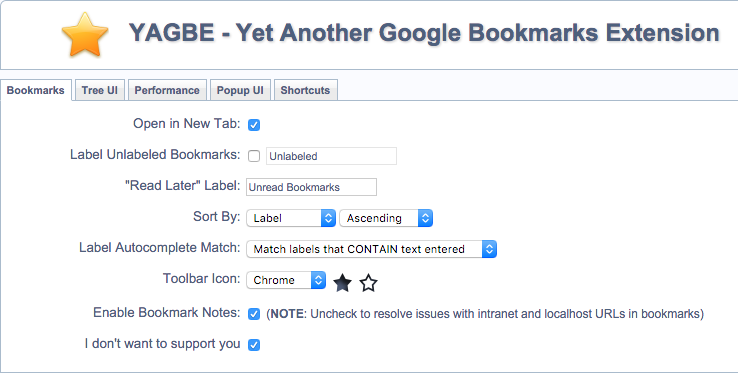 Yet Another Google Bookmarks Extension Options