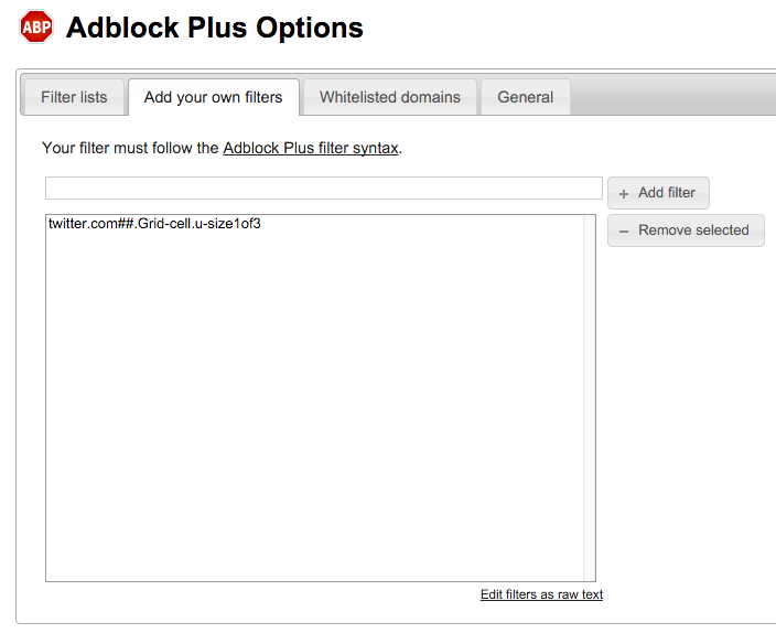 Adblock Plus Options – Add your own filters