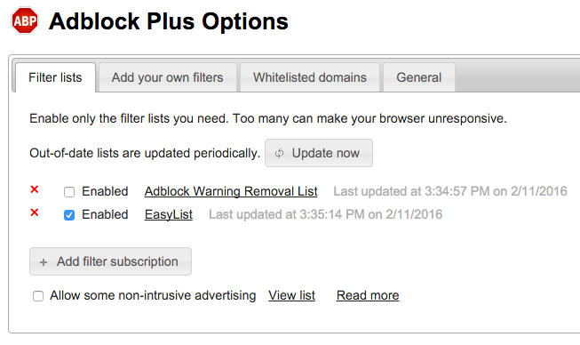 Adblock Plus Options – Filter lists