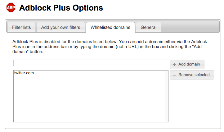 Adblock Plus Options – Whitelisted domains