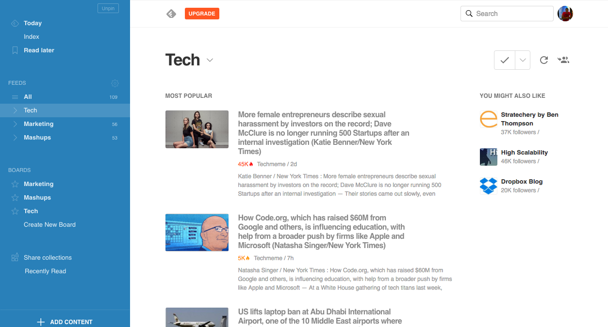 Feedly Magazine View