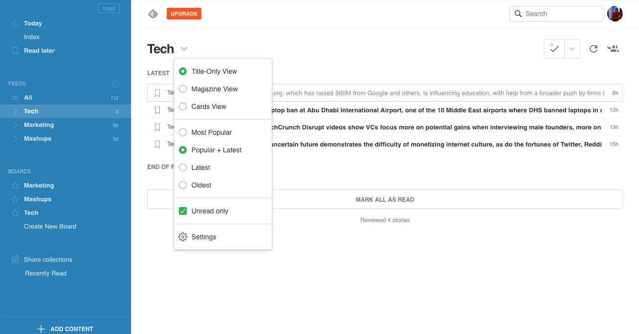 Feedly Reading View Options