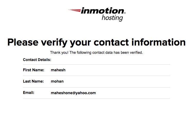 Verified Contact Information