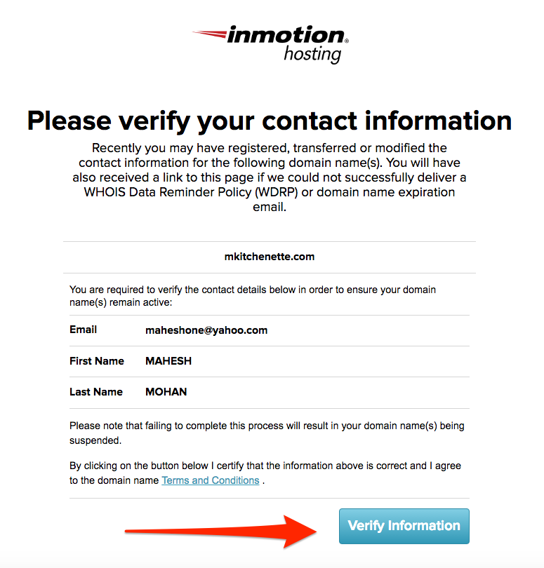 Verify Contact Information