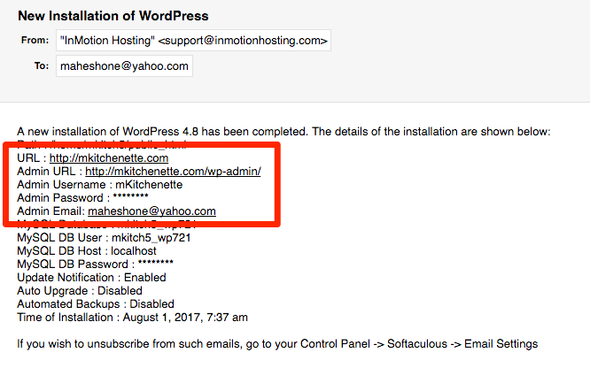 WordPress New Installation Details