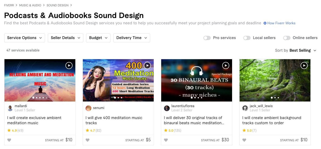 Fiverr Podcasts & Audiobooks Sound Design Gigs