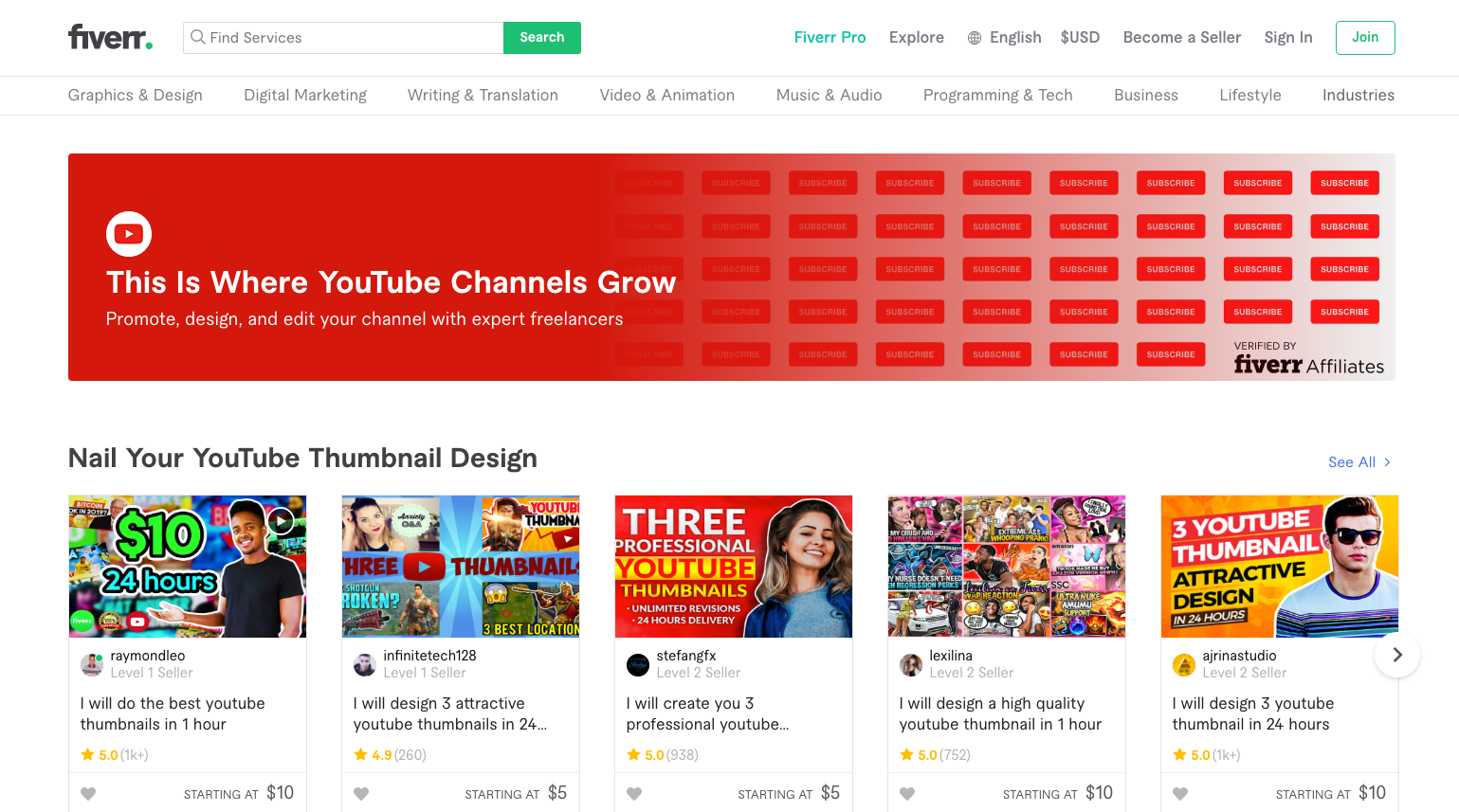 Fiverr YouTube Store — Promote, Design, & Edit Your Channel